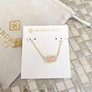 Kendra Scott Elisa Necklace Gold Rose Quartz